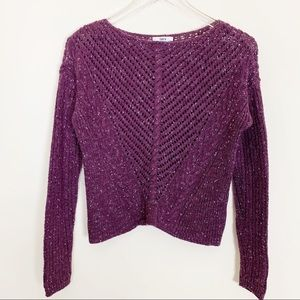 Long-sleeve Scoop-neck Cable-knit Purple Sweater